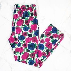 Zara Abstract Floral Print Ankle Pants